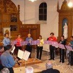 "L'ensemble de clarinettes ""Les Vents d'Anches"" en concert en église."