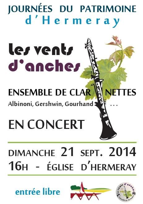 """Concert de l' Ensemble de Clarinettes """"Les Vents d'Anches"""" aux Journées du Patrimoine d 'Hermeray le dimanche 21 septembre 2014"""